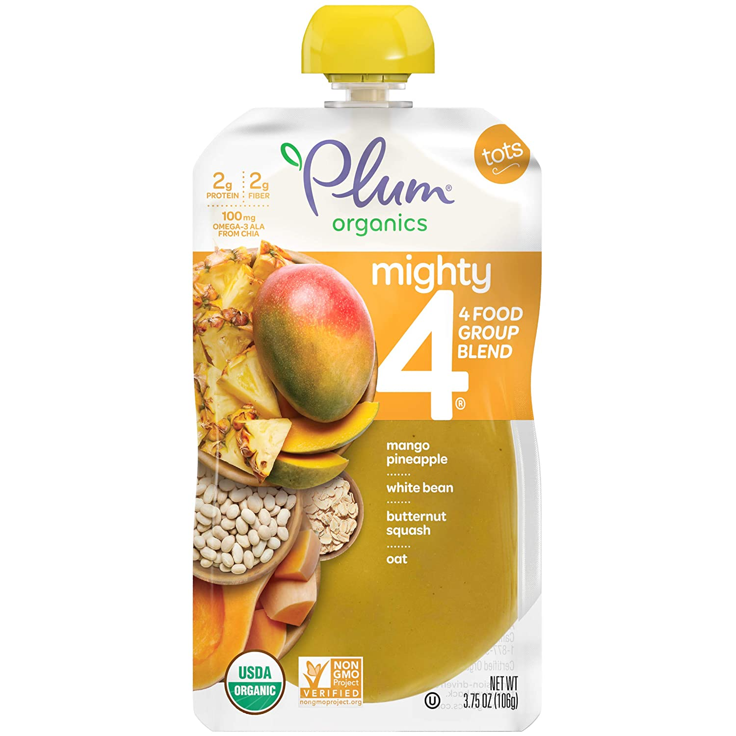 Plum Organics Mighty 4, Organic Toddler Food, Mango, Pineapple, White Bean, Butternut Squash & Oat, 3.75 Ounce (Pack of 12) (Packaging May Vary)