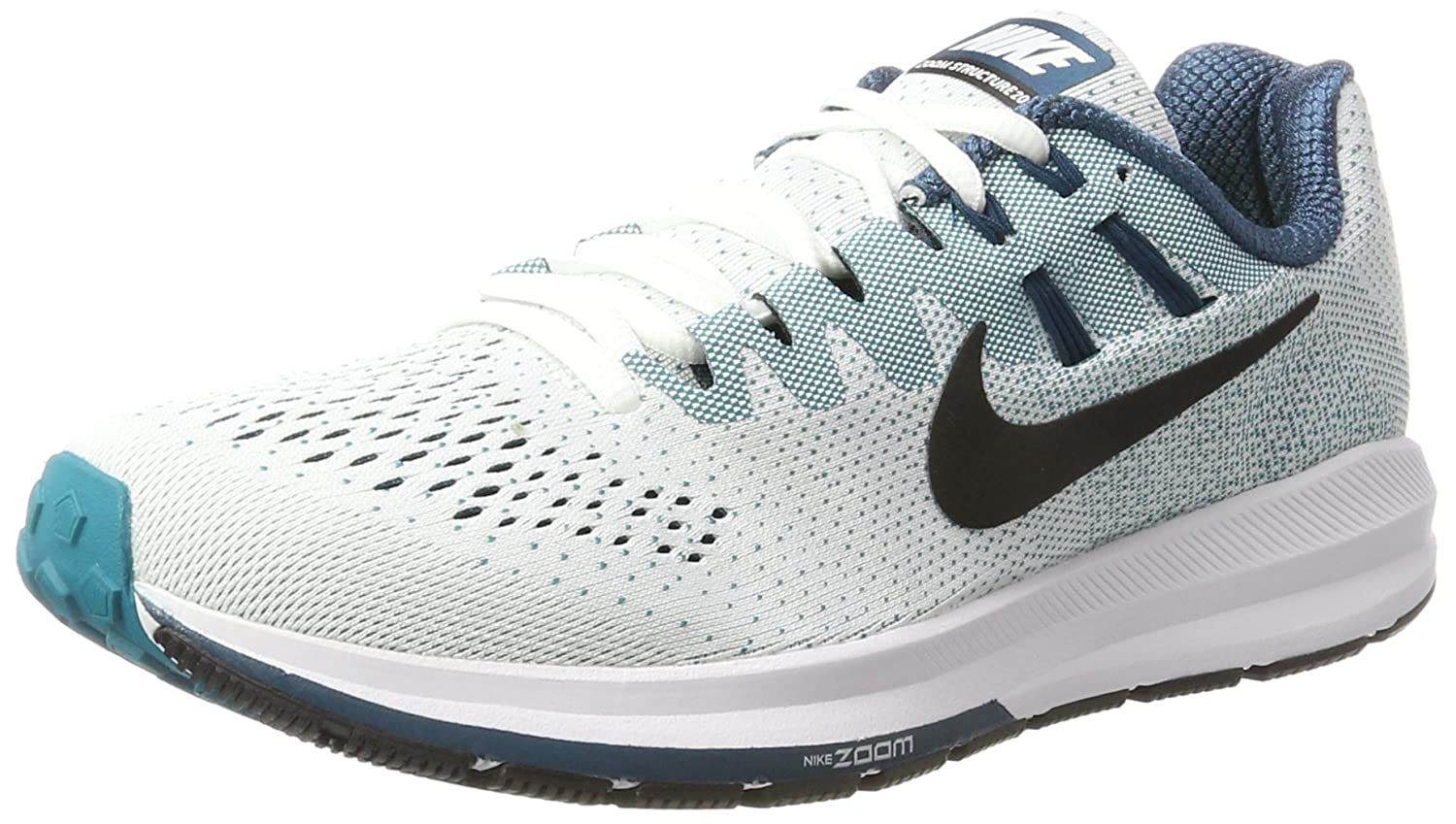 info for e30e7 a5043 Amazon.com   NIKE Men s Air Zoom Structure 20 Running Shoe (13 D(M) US, White  Black Green)   Road Running