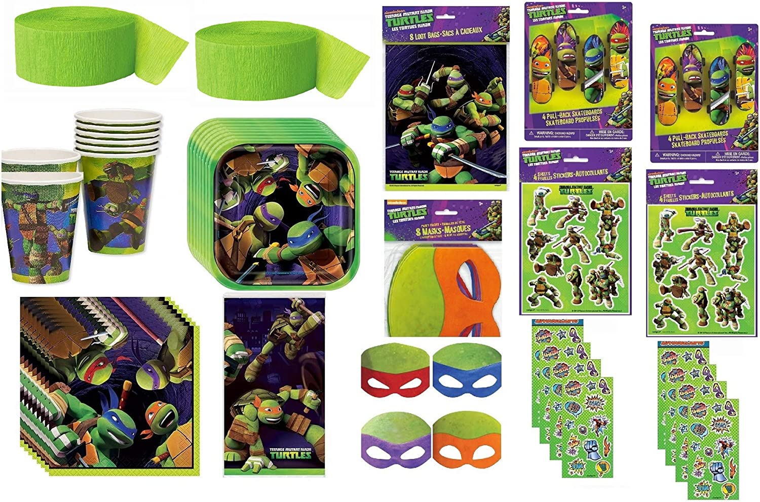 Teenage Mutant Ninja Turtles TMNT Party Supplies Bundle Pack Includes Plates, Cups, Napkins, Table Cover, Crepe Streamer, Favor Loot Bags, Stickers, Masks, Skateboards - Total 90 Pieces