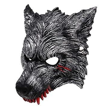 RXBC2011 Sangre Lobo Werewolf Máscara de Hombre Lobo para Cosplay Halloween Gris: Amazon.es: Juguetes y juegos