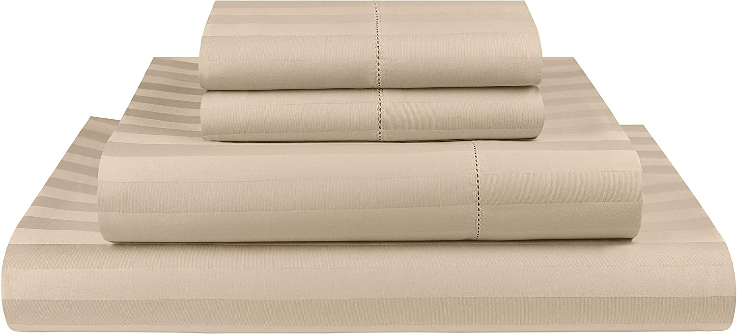 Threadmill Home Linen Twin Sheets - 500 Thread Count Damask Weave, 3 Piece Extra Long Staple Cotton Bedding Set, Breathable Striped Beige Sheets with Elasticized Deep Pocket