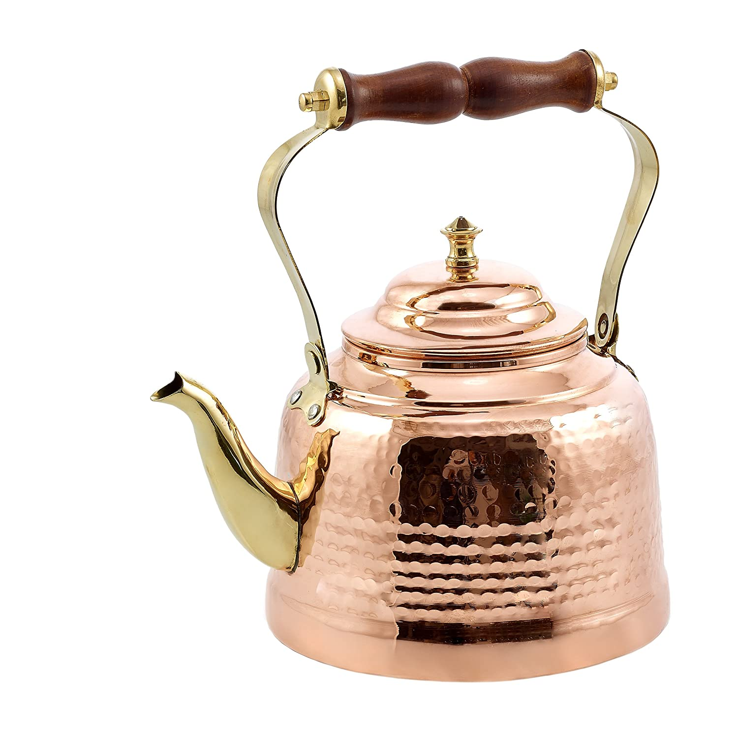 Old Dutch 1869 Hammered Tea Kettle with Brass Spout and Knob and Wooden Handle, 2 qt., Copper
