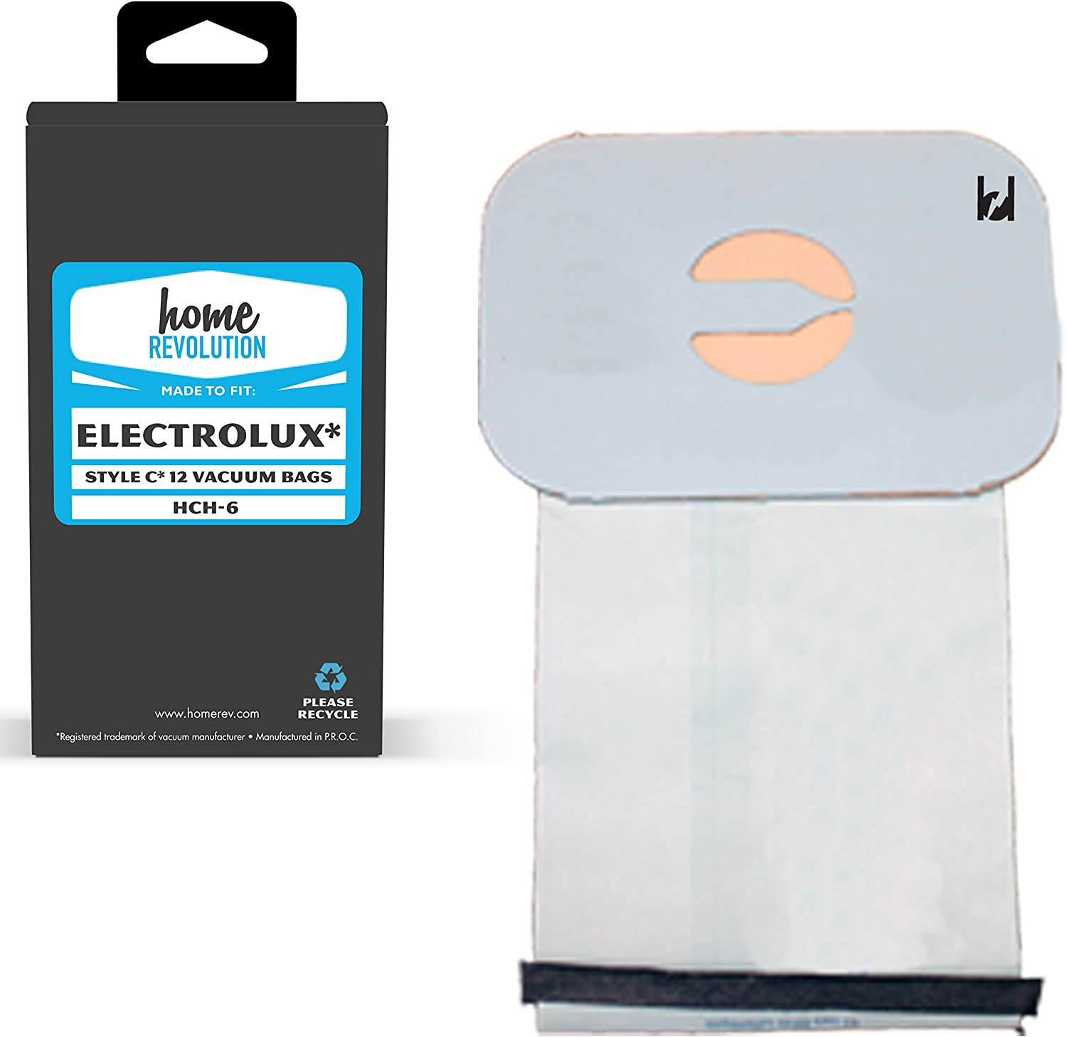 Home Revolution Replacement Vacuum Bags, Fits Electrolux Tank Style C Vacuums and Perfect C 101 Vacuum Models and Part HCH-6.