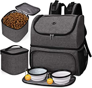 BAGLHER ?Pet Travel Bag, Double-Layer Pet Supplies Backpack (for All Pet Travel Supplies), Pet Travel Backpack with 2 Silicone Collapsible Bowls and 2 Food Baskets. (Patent Pending)