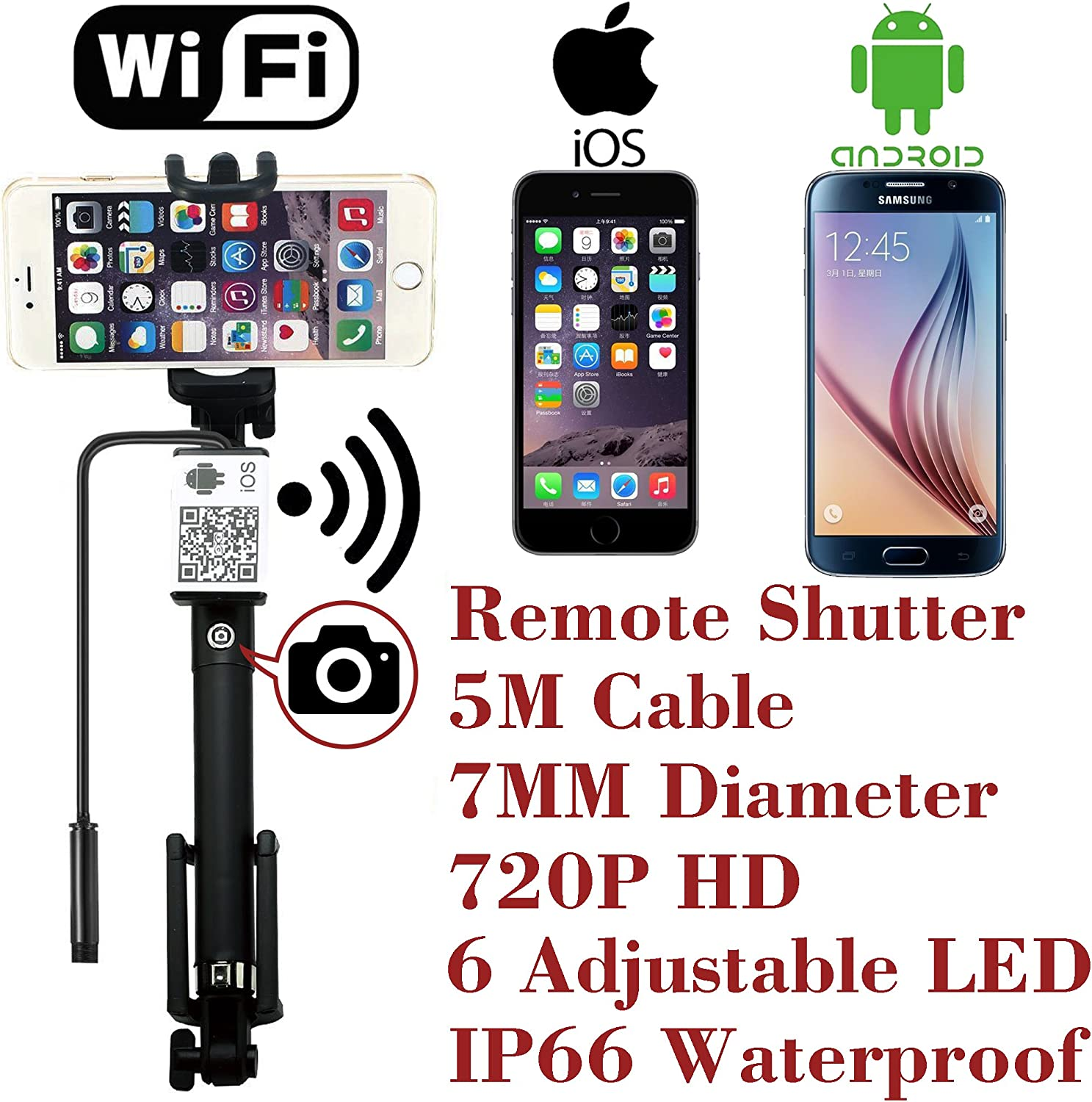 Upgraded WiFi Wireless Endoscope Built-in Remote Shutter Borescope 7mm 2MP 6 LED 720P IP66 Tube Waterproof Snake Inspection Camera System, for iPhone iOS ipad Samsung Android Smartphone by AttoPro-5M