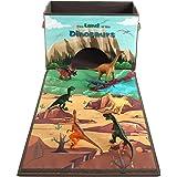 Cesto portaoggetti scatola giocattoli dei bambini contenitore pieghevole con coperchio e manici per vestiti giornali libri e cucina Dinosaur Toys Storage Box Playset