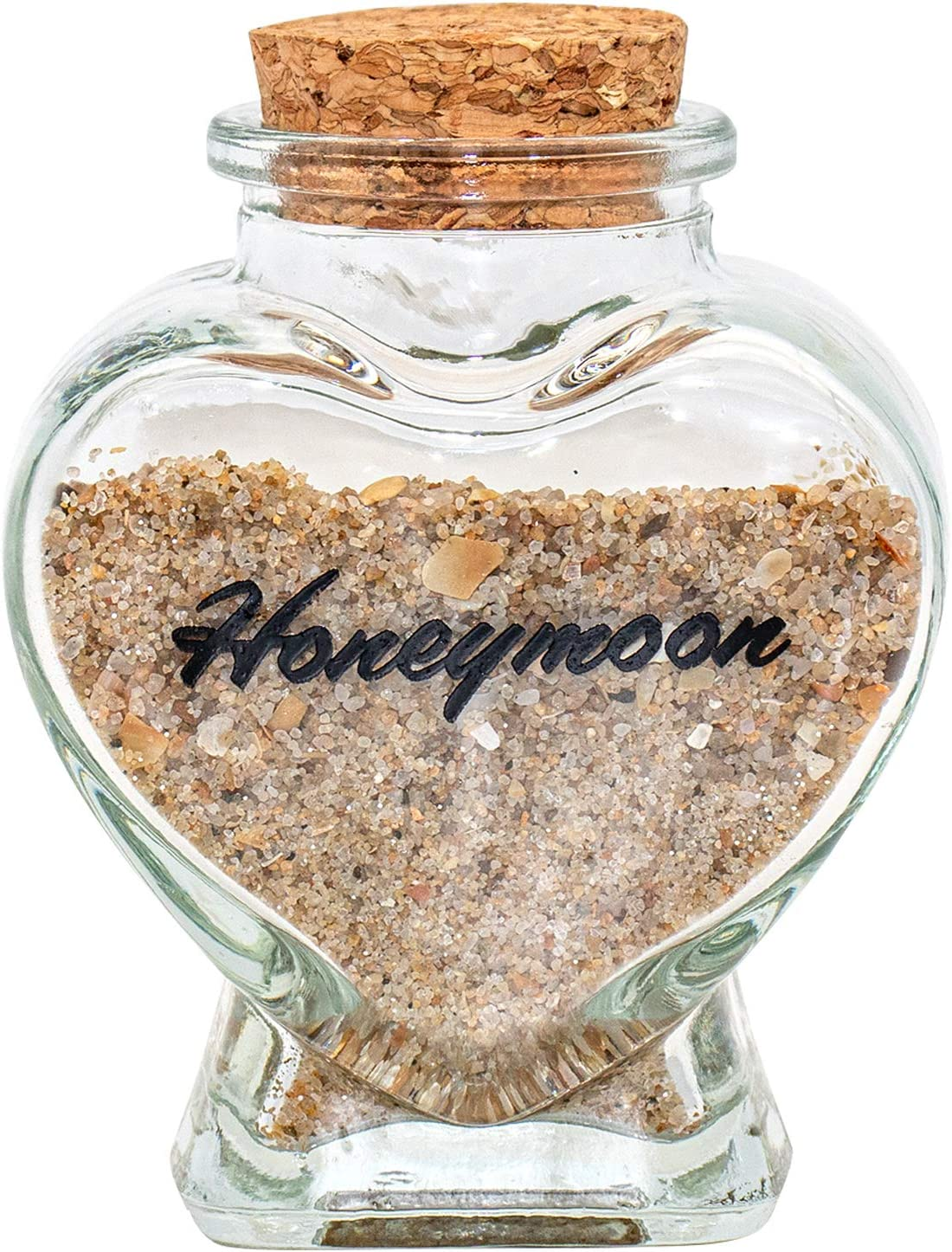 Honeymoon Sand Keepsake Jar - Honeymoon Gifts for Newlyweds Couple,Wedding,Engagement Vacation Travel - Wedding Gifts for Couple with Unique Romantic (HEART SHAPED JAR)