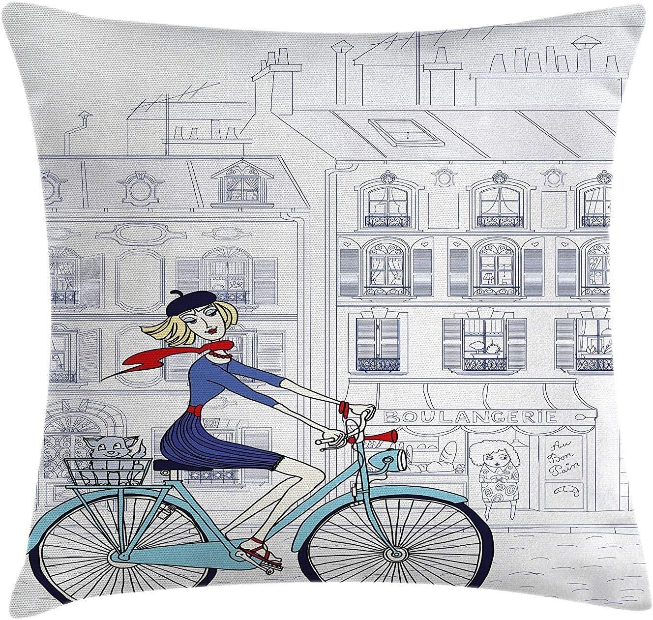Funda de cojín Almohada Mujer Montando Bicicleta en París con un Gato Ilustración de Estilo francés Europeo Pillowcase 45x45cm: Amazon.es: Hogar