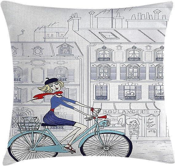 Funda de cojín Almohada Mujer Montando Bicicleta en París con un ...