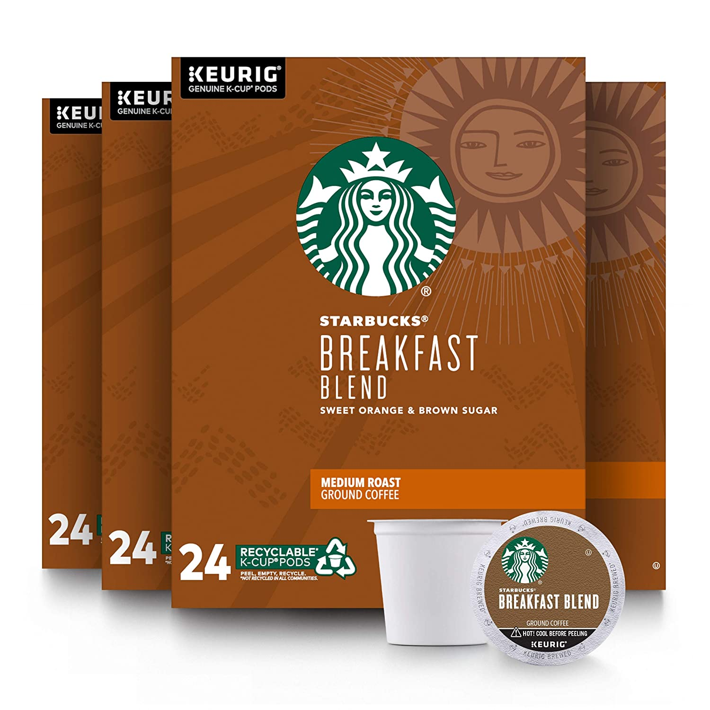 Starbucks Medium Roast K-Cup Coffee Pods — Breakfast Blend for Keurig Brewers — 4 boxes (96 pods total)