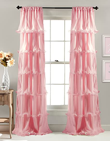 Lush Decor Nerina Window Curtain, 84 by 54-Inch, Pink