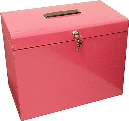 Cathedral - Caja archivadora de metal, A4, color rosa: Amazon.es: Oficina y papelería