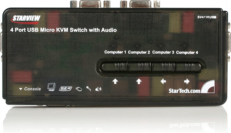 StarTech.com 4 Port Black USB KVM Switch Kit with Cables and Audio - desktop KVM Switch - VGA KVM Switch - USB KVM Switch 4 Port (SV411KUSB)