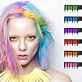 Hair Chalk, Ociga Temporary Hair Color Comb for Hair Chalk Salon - Built in Sealant Non-Toxic and Safe for Kids, No Mess Works on All Hair Colors for Halloween Christmas Party Cosplay DIY (6-color)