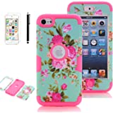 iPod Touch 5th Generation Case, iPod Touch 6 Cases for Girls, VODICO 3 Layer Impact Resistant Hybrid Soft Silicone Hard Plastic Protective Case Cover with Screen Protector+Stylus (Flower Mint Rose)