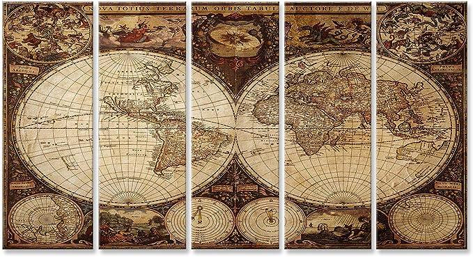 islandburner Cuadro Cuadros Impresión sobre Lienzo - Formato Grande - Cuadros Modernos Antiguo Mapa del Mundo de la Vendimia planisferio: Amazon.es: Hogar