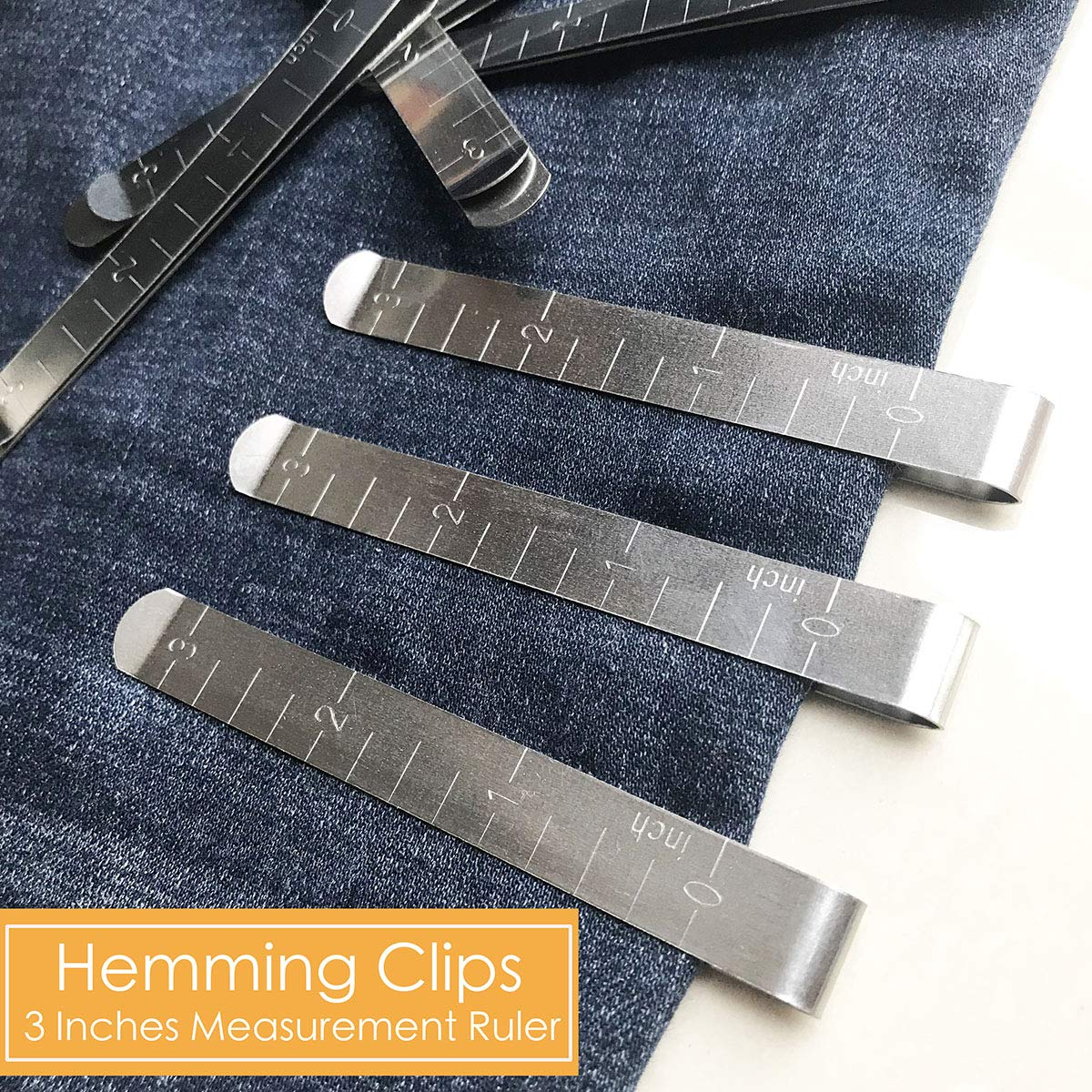 20 Pieces Hemming Clips Bulk 3 Inches Measurement Ruler Sewing Clips for Sewing Pants,Curtains and Other Sewing Project