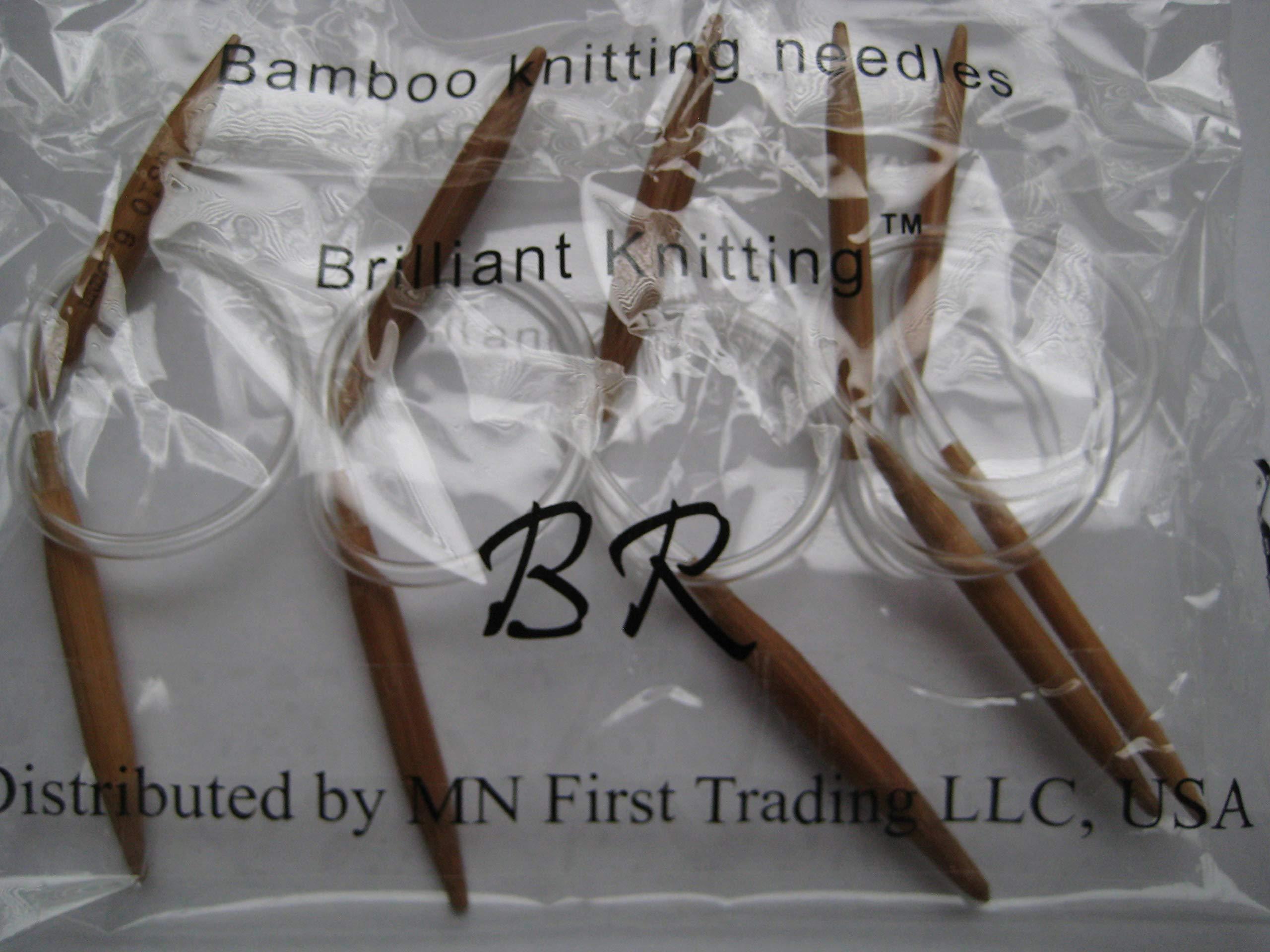 5 Bamboo Circular Knitting Needles Brilliant Knitting (BR brand) (US6, 7, 8, 9 and 10) Length 12'' inches, New US-Made tubing, Never Broken Again!