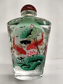 China Exquisite Handmade Inside painting Peony pattern Glass snuff bott