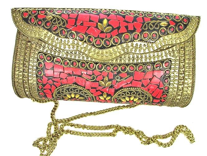 bd800190e2c5 Amazon.com: Red Stones Mosaic Handmade Golden Antique Brass Metal Evening  Bag Clutch Purse Handbag w/Strap: Handmade