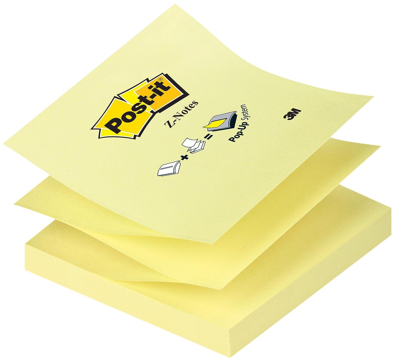 Post-it Bloc Notas Z - Notas autoadhesivas, 12 unidades x 100 hojas, color amarillo: Amazon.es: Oficina y papelería