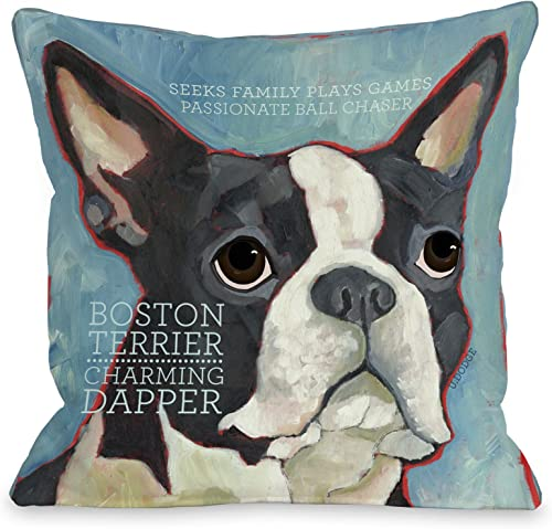 One Bella Casa Boston Terrier 1 Throw Pillow, 26 by 26-Inch