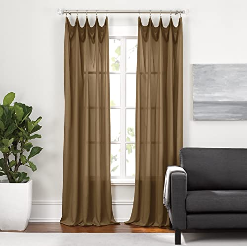 Cheap Cambria Toffee Silkesse 108″ Rod Pocket Curtain Panel Set of 2 window curtain panel for sale