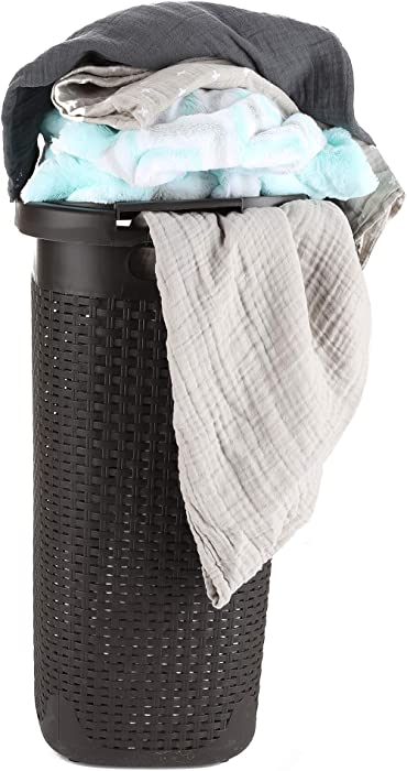 Mind Reader Basket Laundry Hamper with Cutout Handles, Washing Bin, Dirty Clothes Storage, Bathroom, Bedroom, Closet, 60 Liter, Brown