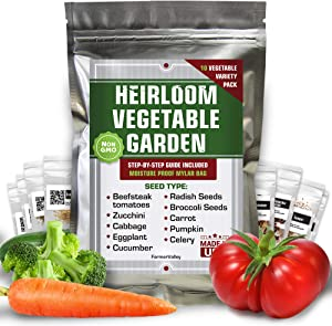 10 Vegetable Seeds Pack - 100% Non GMO Heirloom Garden Seeds for Planting Vegetables - Tomatoes, Cucumber, Carrot, Broccoli, Radish Seeds and More