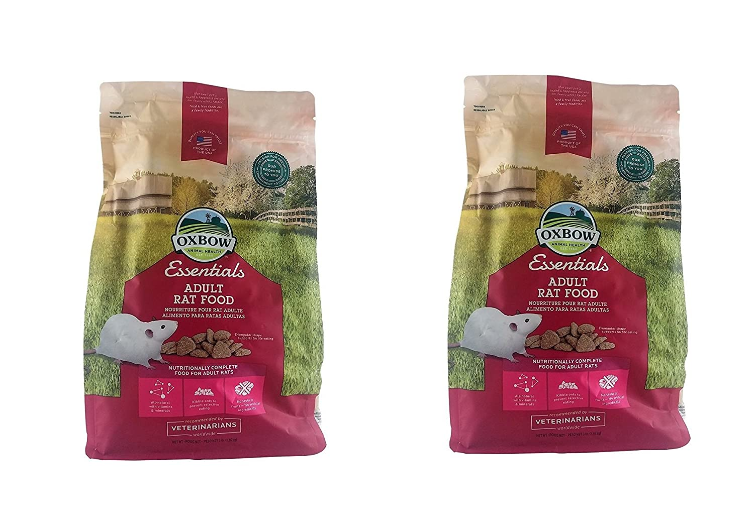 2Pack (3-Pound Bag) Oxbow Essentials Adult Rat Food 6 Pound (2 x 3 Pound Bags)