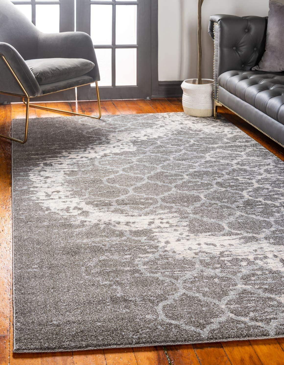 Unique Loom Trellis Collection Geometric Modern Light Gray Area Rug 9 0 x 12 0