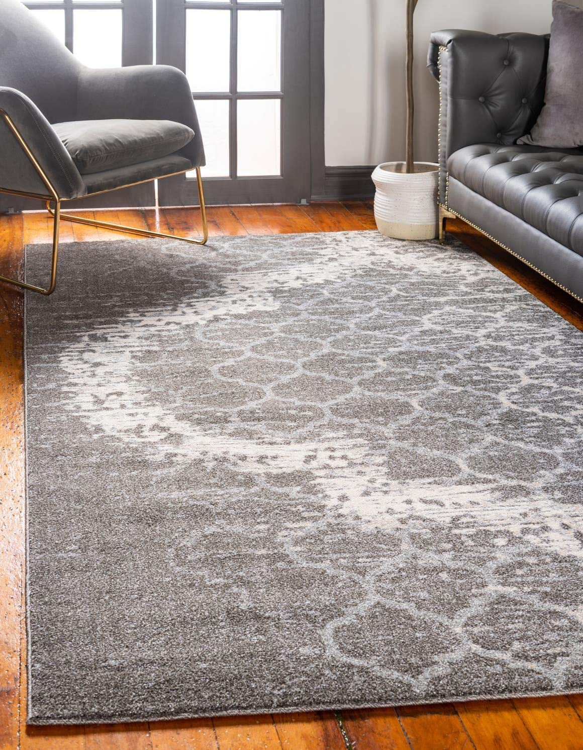 Unique Loom Trellis Collection Geometric Modern Light Gray Area Rug 4 0 x 6 0