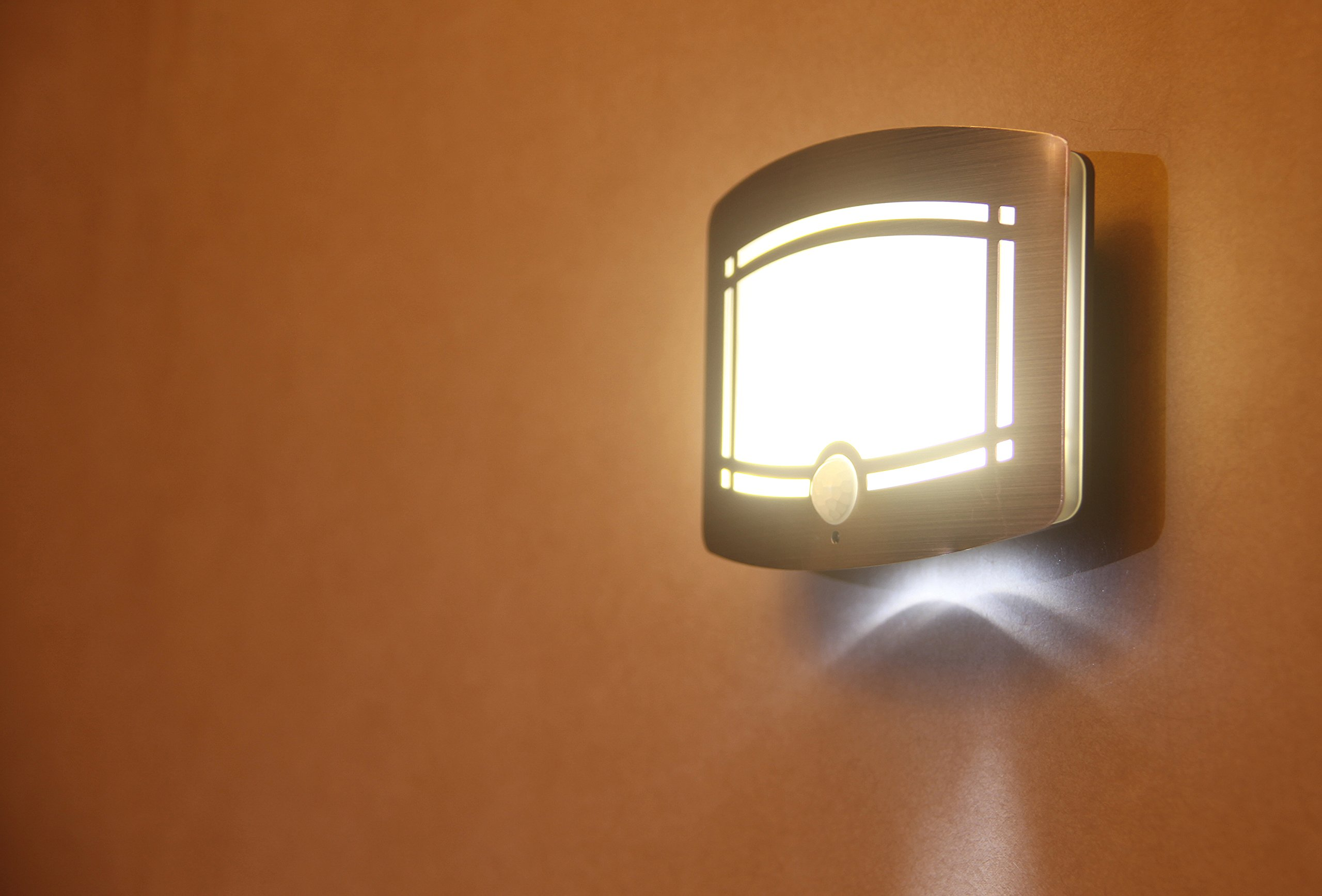 Motion Sensor Auto LED Night Light - Soft Warm White Wireless Wall Sconce Light Controlled by Motion Activated Sensing & Light Sensor - Stick on Anywhere Wireless Battery Powered (Not included) by WISLIGHT (Image #9)