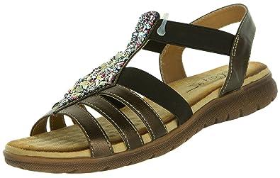 Beppi Damen Sandalen Glitzer  Frauen Freizeitschuhe Flach Bequem Elegant  Schuhe mit Komfortsohle Sandaletten...