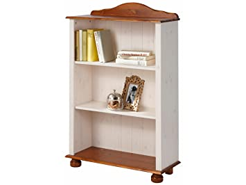 JASMIN Bücherregal Regal Standregal Wohnzimmer Möbel Landhausstil Kiefer  Massiv, 77 X 30 X 116 Cm