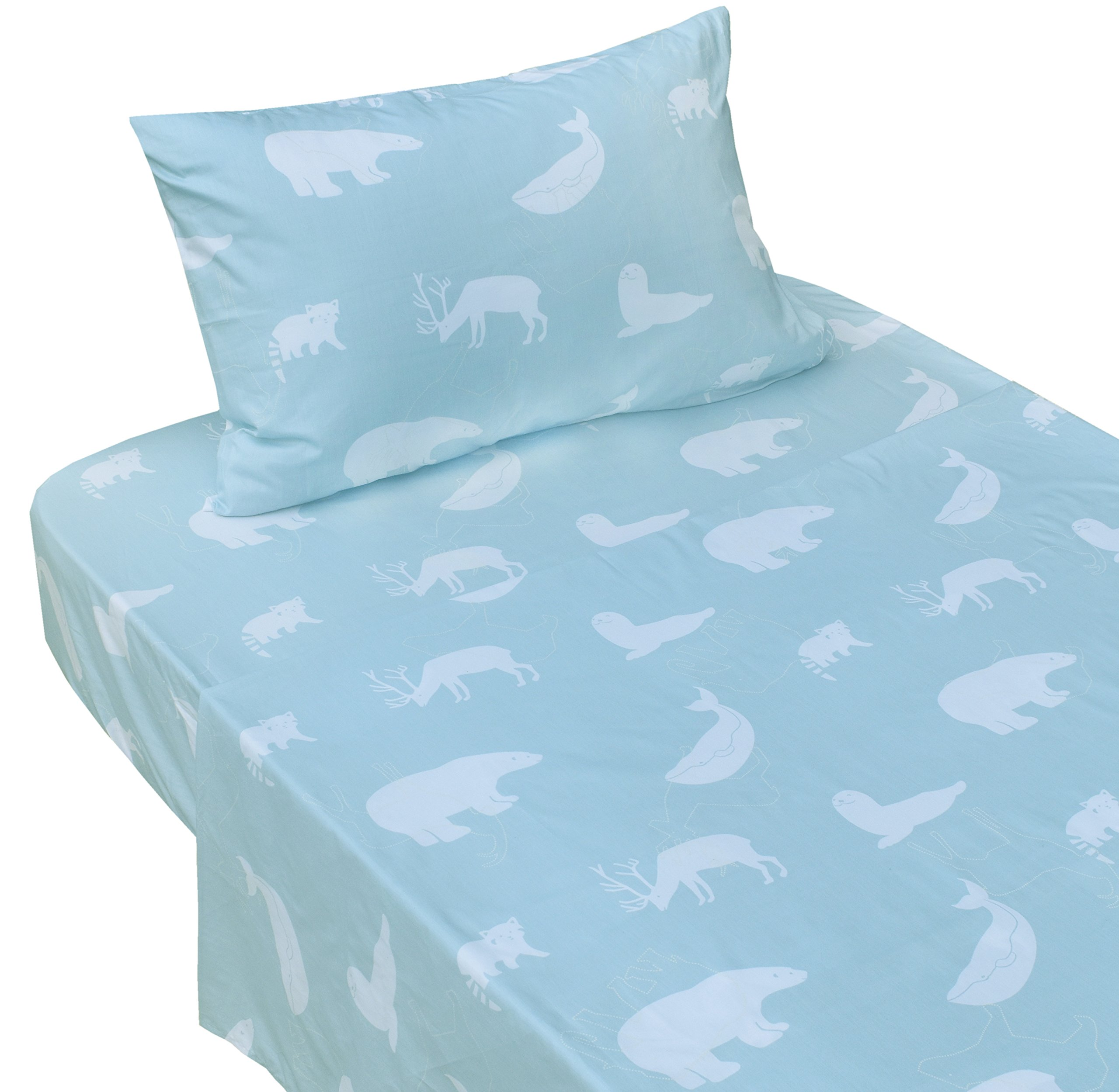J-pinno Whale Elk Raccoon Polar Bear Blue Printed Twin Sheet Set for Kids Boy Children,100% Cotton, Flat Sheet + Fitted Sheet + Pillowcase Bedding Set (animals2)