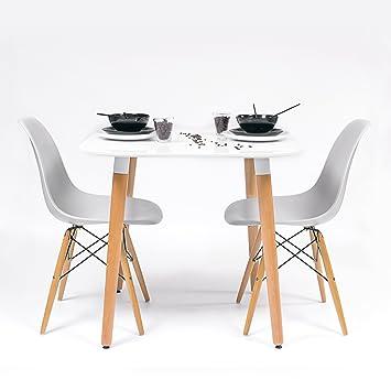 Homely - Conjunto de Cocina-Comedor de diseño nórdico-Scandi NORDIK-80, con Mesa lacada Blanca y 2 sillas Tower (Gris Claro)