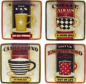 """Certified International Coffee Always Canape Plates 6"""", Set of 4 Assorted Designs"""