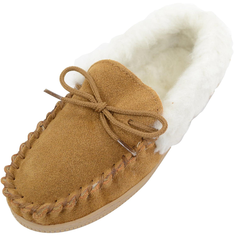 Mocassins doublés pour fille avec tige en daim et revers doublé de laine