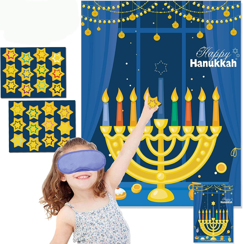 Funnlot Hanukkah Decorations Chanukah Activities Hanukkah Games Pin The Star On The Menorah Game Hanukkah Party Games Chanukah Party Decorations