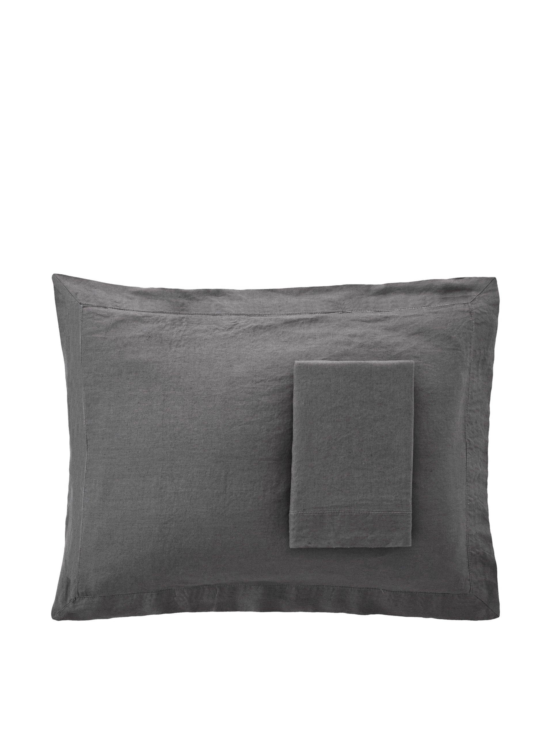 Melange Home 190966 Linen Standard Sham, Dark Grey