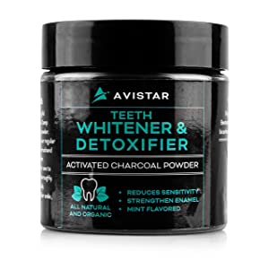 Avistar Charcoal Teeth Whitening Powder: Activated Charcoal Powder for White Teeth, Fresh Breath and Healthy Gums - Organic Coconut Charcoal Tooth Powder - Natural Teeth Whitener - Mint Flavor, 2 Oz