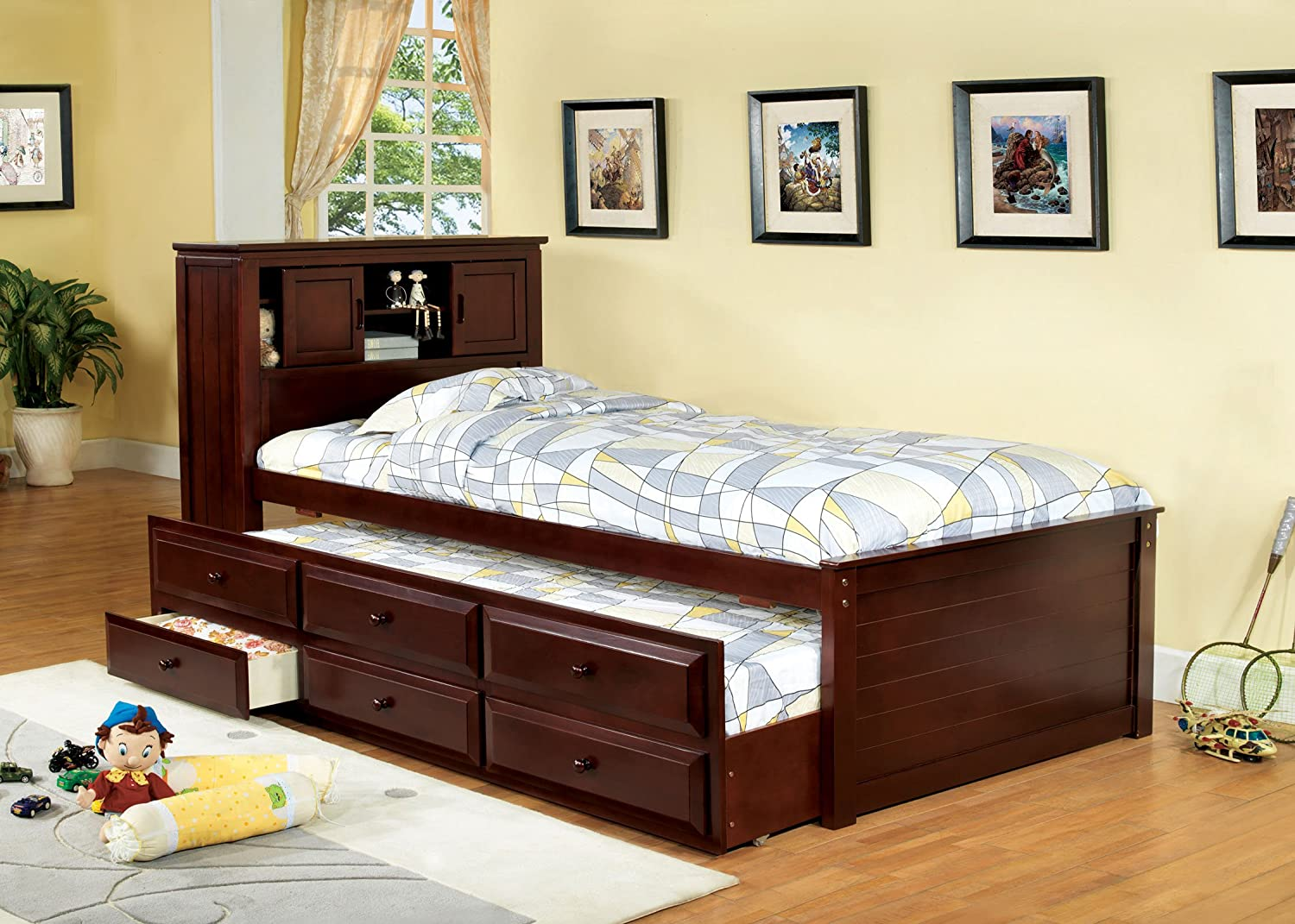 amazoncom furniture of america cameron twin captain bed with trundle and drawer set cherry kitchen u0026 dining
