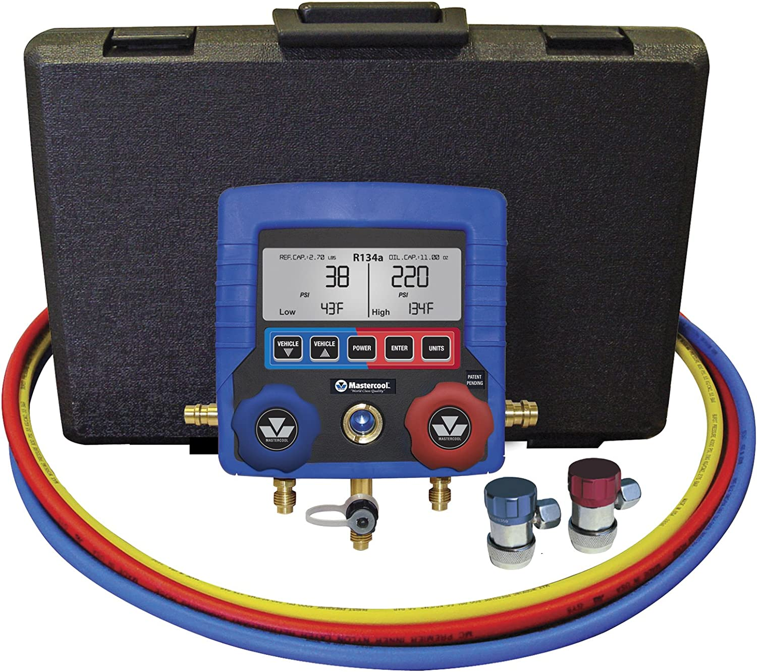 "MASTERCOOL (99872-A Blue R134A Digital Manifold Gauge Set with 72"" Hose and Manual Coupler"