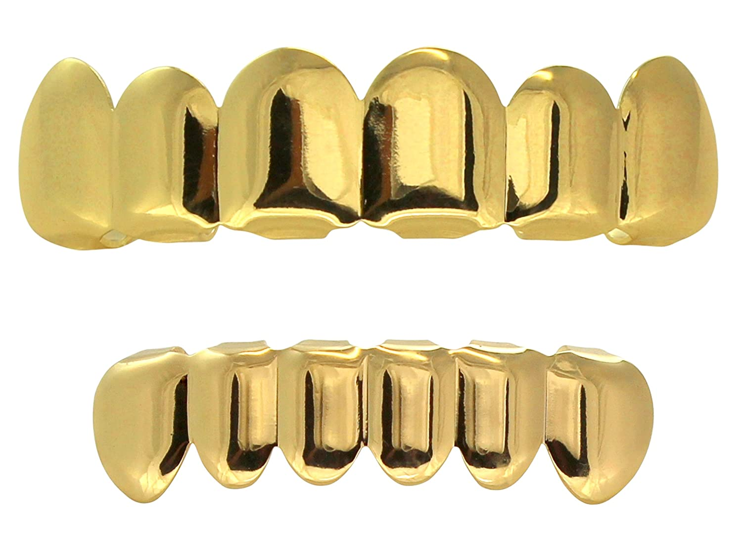 New Custom Fit 14k Gold Plated Hip Hop Teeth Grillz Caps Top & Bottom Grill Set Best Grillz bx324