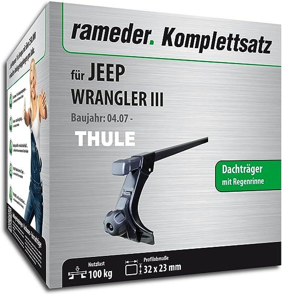 Rameder Komplettsatz Dachtr/äger SquareBar f/ür Jeep Wrangler III 116048-07574-5