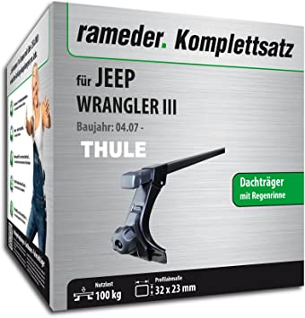 116048-07574-5 Dachtr/äger SquareBar f/ür Jeep Wrangler III Rameder Komplettsatz