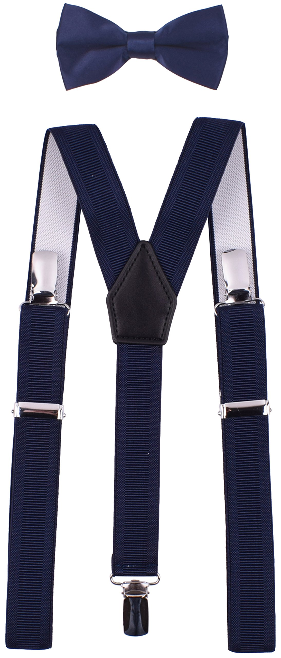 YJDS Kids Suspender Bowtie Sets Classic Y Back Navy Thread 26''