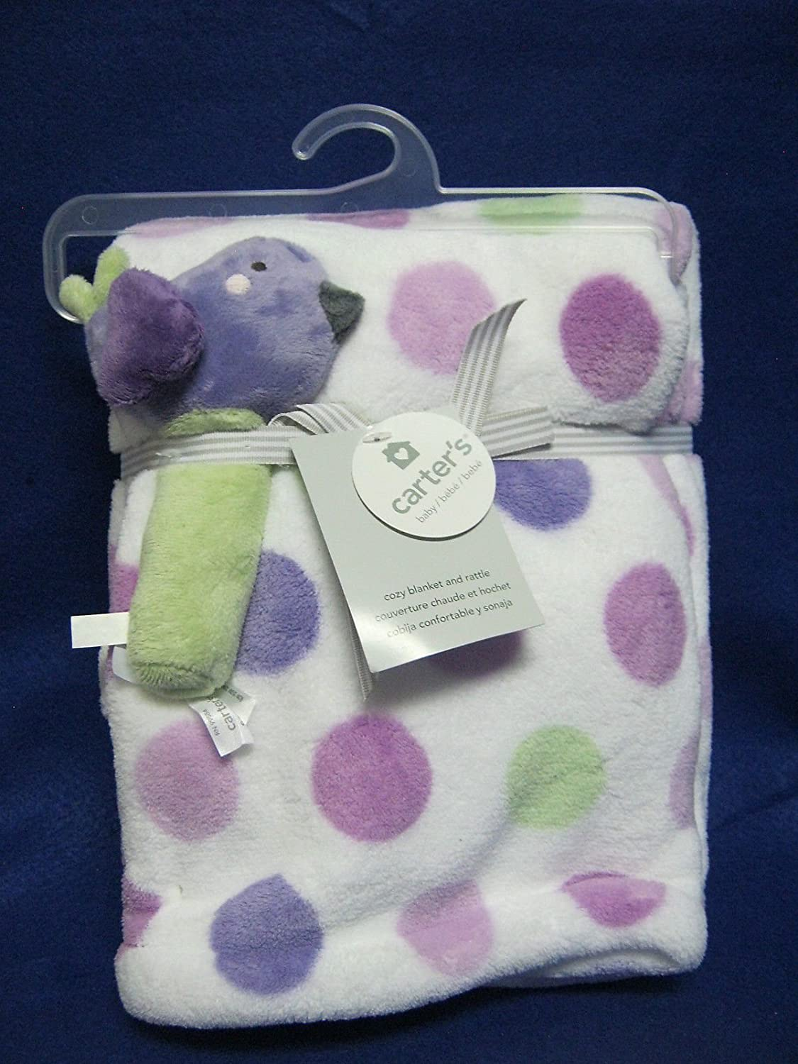 Carters Boa Blanket with Rattle, Lilac Bird