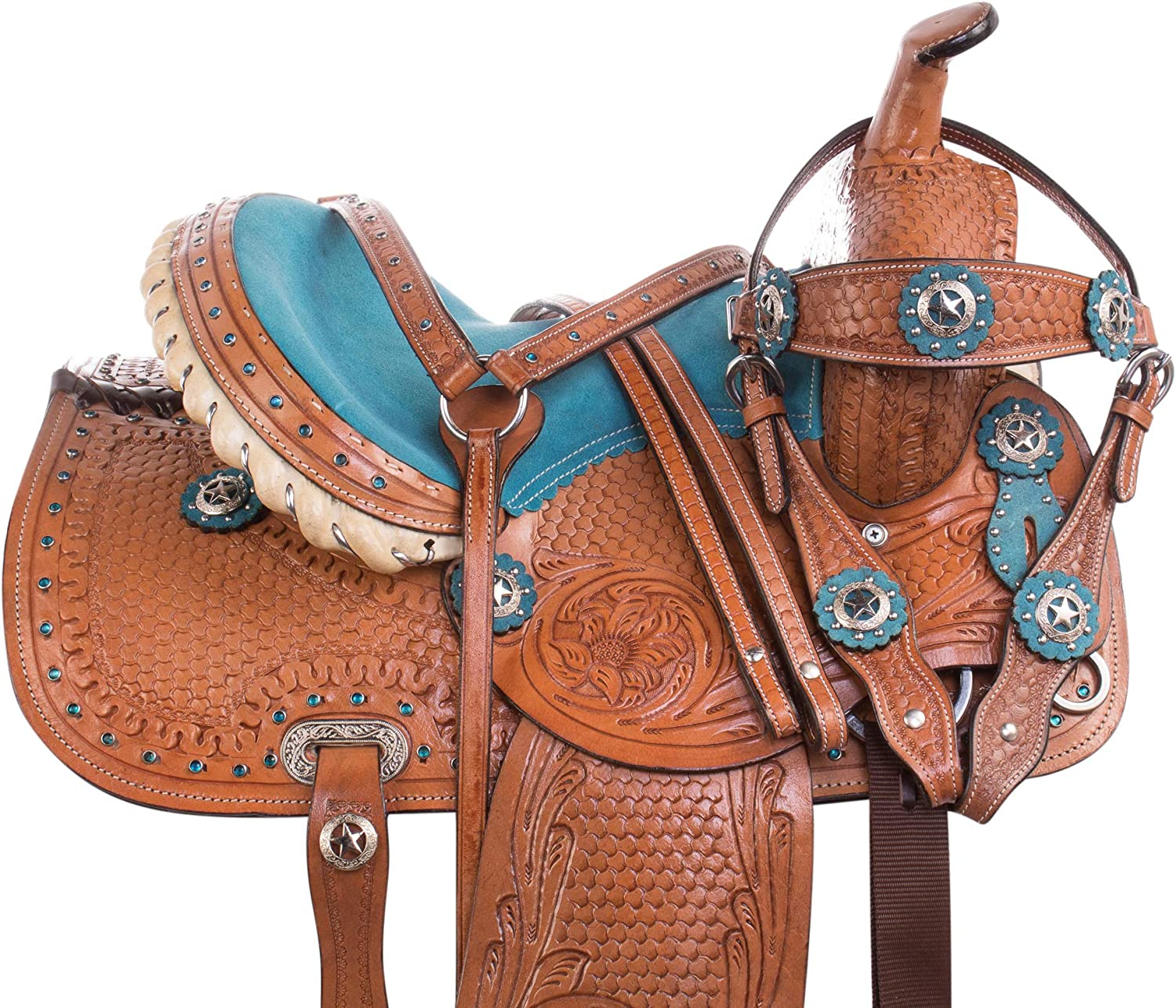 Acerugs Western Pony Horse Leather Saddle TACK Blue Pleasure Trail Barrel Racing Racer Show 10 12 13 14
